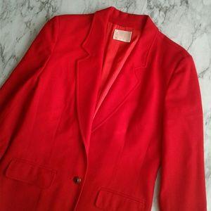 VTG Pendleton Fire Red 100% Wool Two Button Blazer